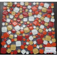 Pebble Free Stone Mixed Crystal Glass Mosaic Tile For Hotel Swimming Pool