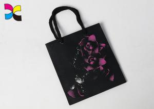 China Black Printed Paper Carrier Bags With Twisted Handles , Garment Custom Logo Printed Bags on sale