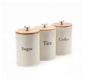 China galvanized round 3 pieces yellow power coating tea  coffee sugar canister set with bamboo lid on sale