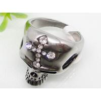 Cross Rhinestone Skull Shaped Stainless Steel Gothic Ring 1140525