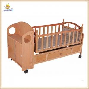 China Automatic Swing Wooden Baby Cribs Mobile , Portable Wooden Crib Bed on sale