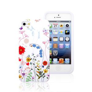China 2014  Wholesale Floral Print  White PC and TPU Phone  Case  for iPhone 5S on sale