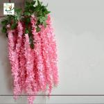 China UVG Latest wedding decoration fabric artificial flower making with pink wisteria vine wholesale
