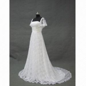 China Cap Sleeve Lace Wedding Dress/Wedding Gown/Bridal Dress, Swarovski Crystals Decorated on sale