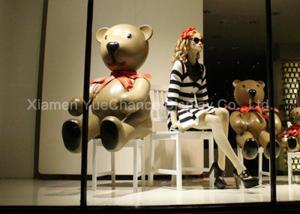 China Life Size Window Display Decorations Spray Color Finish Fiberglass Teddy Bear Statue on sale