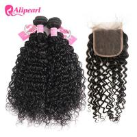 China Brazilian Natural Wave Human Hair Bundles With Closure No Shedding Healthy on sale