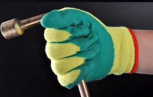 China Latex coated glove,rubber glove,safety glove on sale