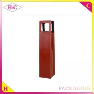China Luxury single pu leather wine bottle bag on sale
