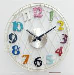 Diamètre fil blanc de crème de 16 pouces avec l'horloge de quartz colorée de tenture de nombres