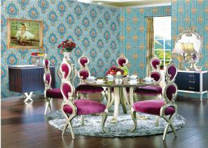 China Deep Embossed Blue Damask Wallpaper For House Decoration , OEM ODM Service on sale