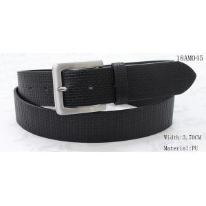 Woven Pattern PU Taupe Mens Black Leather Belt With Silver Buckle 3.45cm Width