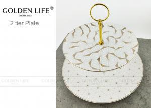 China Modern Pattern Ceramic Fruit Plates Cake Banquet Pastry Tray Gold Color Metal Stand on sale