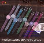 O relógio das crianças com a cor multicolorido da correia do PVC personalizada para a correia bling DOAL do twinkling do relógio de forma da promoção