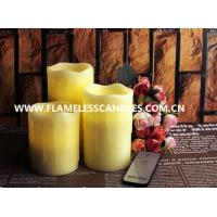 China Beeswax Drip Flameless Pillar Candles with On / Off Button Remote Control LED Candle on sale