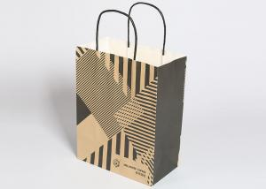 China Kraft Reusable Shopping Bags , Fashion Striped Paper Bags With Handles on sale