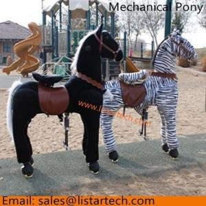 China Happy Pony Rides Plush Walking Horse with Wheels and Foot Rest in Amusement Park, Hot Sale on sale