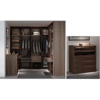 Custom Furniture Walnut wood Built Walk in Wardrobe Closet with Cloth display racks and Storage Cabinets