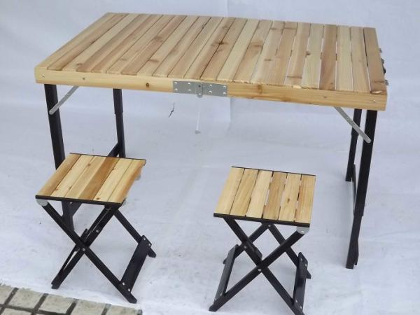Lightweight Camping Wood Folding Table And Chairs Set For Garden Leisure Images