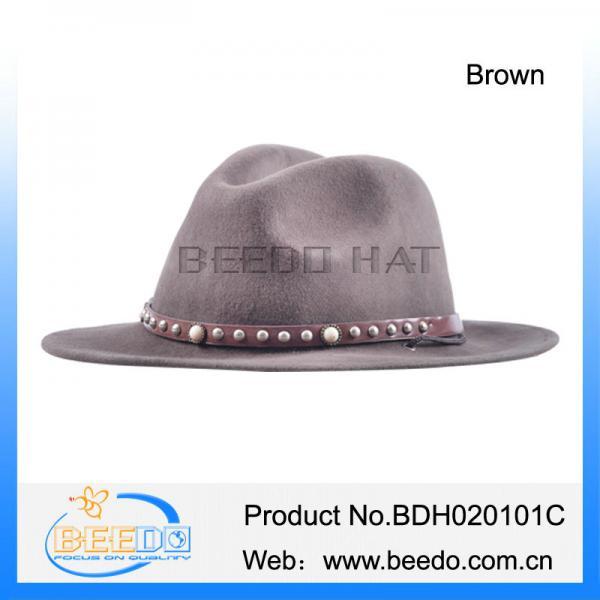 e6cf84d52e2 100% wool felt flat brim cowboy hat with leather band for sale ...