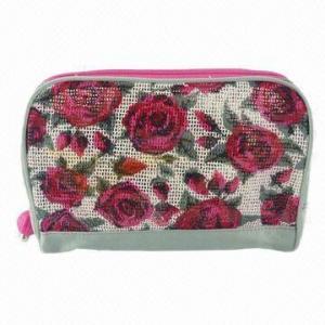 China Pink Rose Flowers Print Evening Bag/Ladies' Make Up Set Travel Kit Handbag, Hotel Case Holders on sale