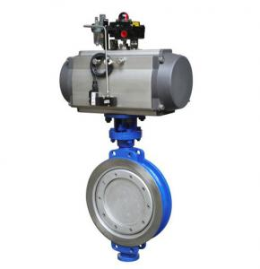 China Cast iron 10 Inch ptfe seat wafer type butterfly valve with pneumatic actuator on sale