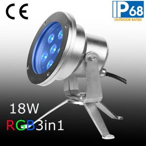 China 18W tricolor LED underwater light with stainless steel and IP68 on sale