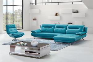 China Blue Color Living Room Furniture Leather Wooden L Shape Sofa Set on sale