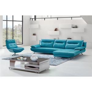 China Blue Color Living Room Furniture Leather Wooden L Shape Sofa Set on sale