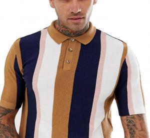 China Knitted Vertical Striped T Shirt Mens Multiple Color Available Size XS-XXXXXL on sale