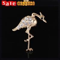 Golden Crystal Red-crowned Crane Brooch,Cute Metal Bird Brooch Wholesale ,Animal Shaped
