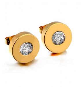 China Yellow Gold Plated Stainless Steel Trendy Stud Earrings For men and Women Inlaid With AAA CZ Zircon Stone on sale