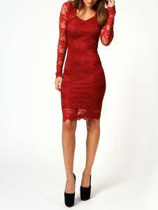 China Long Sleeves Lace Midi Evening Dresses In Black / Red / Blue on sale