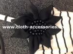 120D Chiffon Black Flower Corsage / Pearl Unique Simple Corsages For Prom