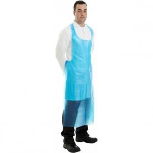 Quality Blue Long Biodegradable Aprons , Plastic Waterproof Aprons Custom Logo for sale