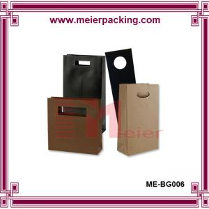 China Cheap Price kraft brown natural color flat bottom Paper Bag with die cut handle on sale
