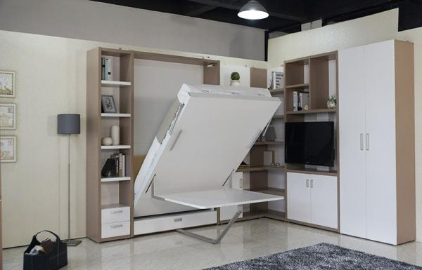 Kids Modern Design Vertical Wall Beds Eco Friendly With Study Table Images