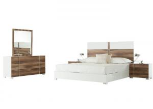 China Acid Resistant Chip Board Walnut Bedroom Furniture Sets Melamine Finished on sale