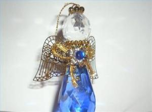 China glass angel bell christmas decorations on sale