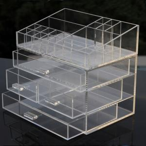 China Clear Acrylic Makeup Organizer Drawer Type Perspex Cosmetic Storage Box Plastic Makeup Box on sale