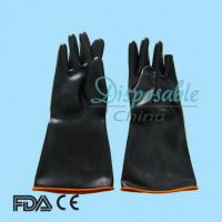 Black light weight latex industry gloves,with orange lined