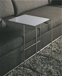 Quality White Tempered Glass End Table , Modern Glass Metal Sofa Side Table , Smart sofa tables for sale