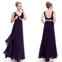 Floor Length Sexy V Neck Chiffon Purple Evening Dresses with Sequins Waist