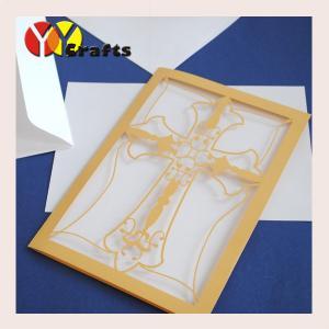 China Gold Cross Wedding Invitation Card , Kids Birthday Invitation Cards Hand Made on sale