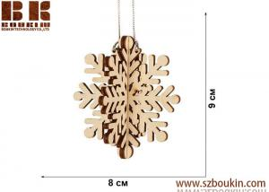 China Laser plywood 3D snowflake ornament, Xmas tree decoration, wood shape craft supply, unpainted DIY Christmas, winter wood on sale