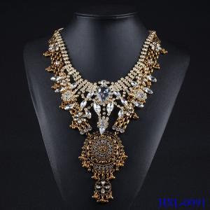 China Fashion Charm Jewelry Crystal Necklace Chunky Statement Bib Pendant Choker Chain on sale