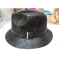 Black Hat Short Brim Mens Homburg Hats Faux Suede for Gentleman