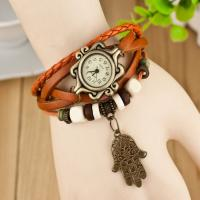 Leather Band Vintage Womens Quartz Watches Water Resistant For Girls