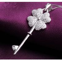China Clover sterling silver pendant necklace, sterling silver jewelry for her on sale