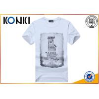 Polyester / Cotton Plain White Round Neck T Shirts Printing For Man