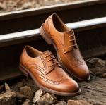 Застежка-молния Брауна Оксфордс ботинок платья ретро винтажных людей кожаная шнурует вверх ботинки Брогуэ